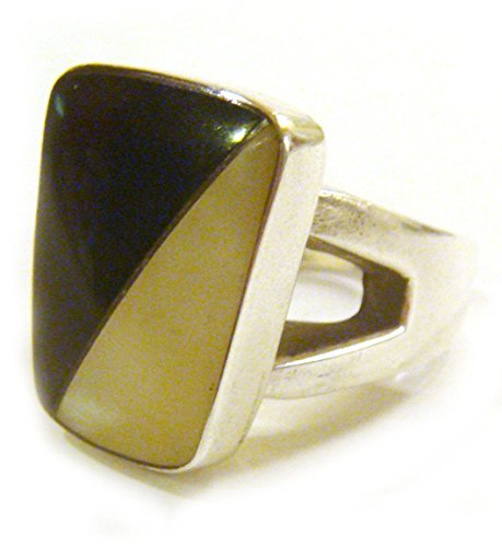 TAXCO .925 Sterling Silver Unique Mother Of Pearl & Onyx Ring from Mexico Size (Mexican Onyx Ring)