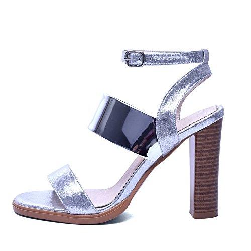Open Silver Buckle Heels Sandals High AgooLar Leather Toe Patent Women's Solid w7nvaqIU