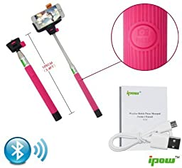 Ipow Selfie Stick Bluetooth with Remote Shutter for Iphone 6 Iphone Plus Iphone 5 Iphone 5c Samsung Galaxy S5