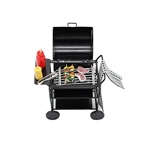Dollhouse Miniature Barbecue Furniture BBQ Grill Set Pretend Play Roasting Oven for Fairy Garden Life Scenes Decor 1Set