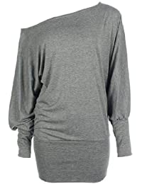 Funky Boutique Womens Long Sleeve Off Shoulder Plain Batwing Top