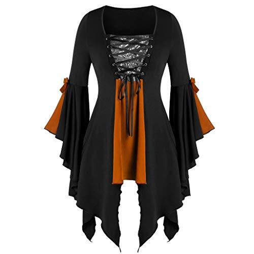 KLFGJ Women's Gothic Costumes Renaissance Oversized V-Neck Blouse Long Flare Sleeve Bandage Sequined Tops
