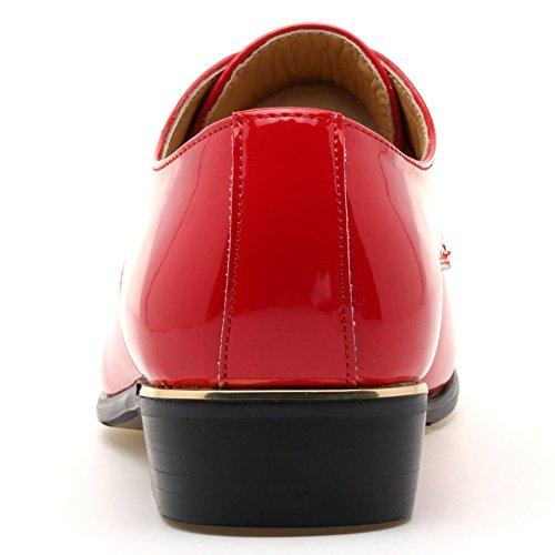 Lingtom Patent Mens Lace Up Plain Tuxedo Oxford Jurk Trouwschoenen Rood