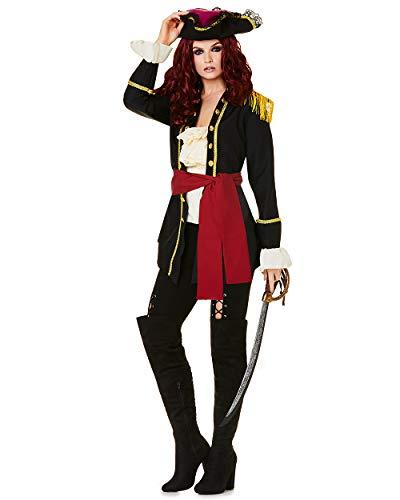 Pirate Captain Costume - Halloween High Seas Lady Buccaneer Villain, X-Small -