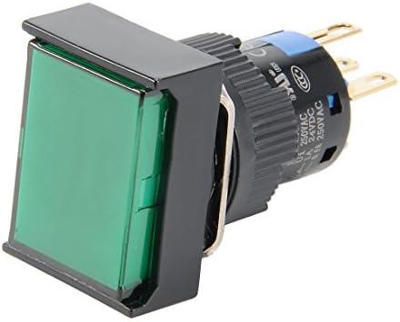 uxcell 押しボタンスイッチ プッシュボタンスイッチ AC 110-220V グリーンライト SPDT 1NO + 1NC 回路制御スイッチ