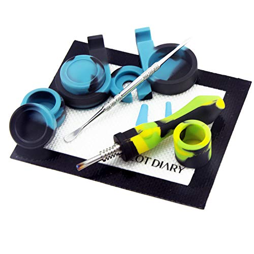 """Pilot Diary Silicone Honey Straw 4.5"""" Yellow/Green/Black w/Silicone Wax Carving Kit"""