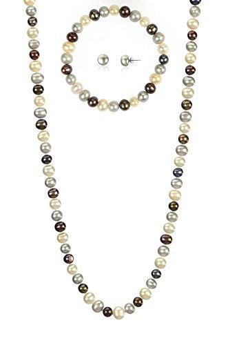- 7-7.5mm Cultured Freshwatrer Pearl Necklace Bracelet and Earring Set in .925 Sterling Silver (Multi)