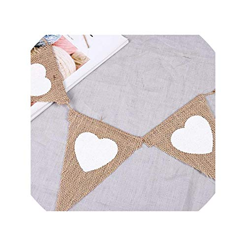 4.5M 13 Flags Vintage Jute Hessian Bunting Love Heart Banners for Party Wedding Banner Garland Tent Decor ()