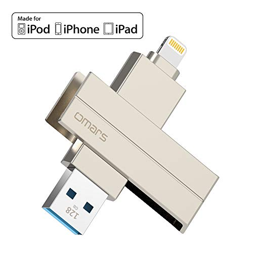 [MFi Certified] Omars iPhone Flash Drive, 128G 3.0 USB Memory Stick with 5mm Extended Connector for iPhone, iPad iOS PC MacBook ()
