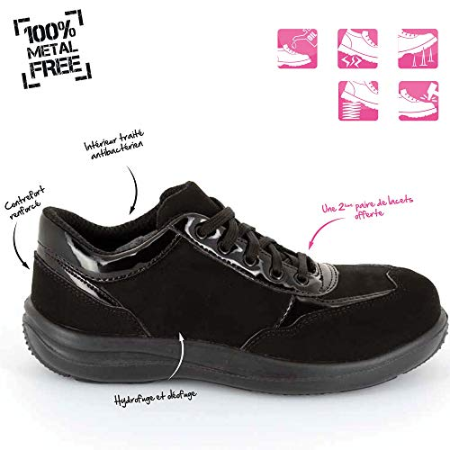 Chaussures Légères Travail Sécurité De Basses Baskets Respirantes Sra Et Foxter Imperméable Femmes S3 Sans Métal Noir wgUFq