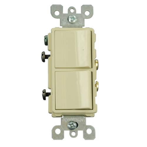 Leviton 5634-I 15 Amp, 120/277 Volt, Decora Single-Pole, AC Combination Switch, Commercial Grade, Grounding, Ivory