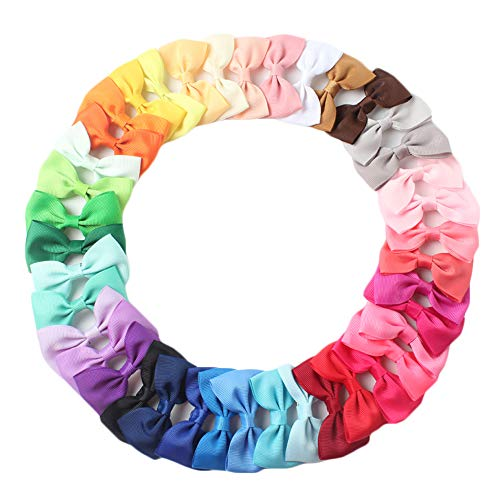 Baby Girls Big Bow Hair Clip Set Alligator Clips Print Bows Headband for Little Girls Toddler Children (Bow Hair Clips A 20pcs, 3 Inch)