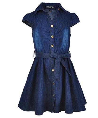 Chillipop Big Girls' Skater Dress - denim blue, 10-12 (Chambray Dress For Girls)