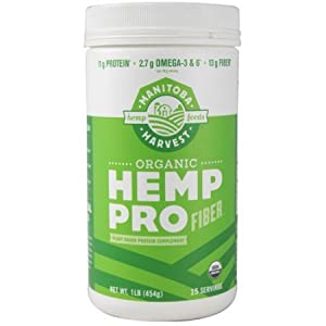 Manitoba Harvest Organic Hemp Pro Fiber Plant Based Protein Supplement, 1.0 Pound (Pack of 2)