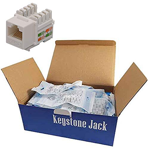 - CNAweb Cat6 RJ45 Modular Keystone Jack, 110 Style, White - Box of 50
