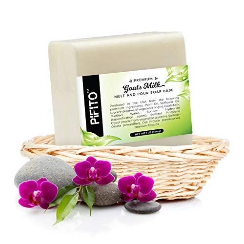 Pifito Premium Goats Milk Melt and Pour Soap Base (2 lb) - 100% Natural Glycerin Soap Base - Luxurious Soap Making Supplies