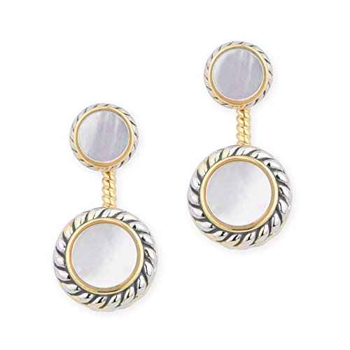 (Round Opaque Stone Inlay Two Tone Ear Jacket Earrings (Mother of Pearl))
