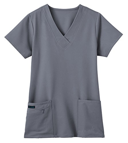 Classic Fit Collection by Jockey Scrubs Women's Tri Blend Solid Scrub Top Medium Pewter