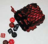 Dice Bag in Knitted Scale Armor - Dark Fire
