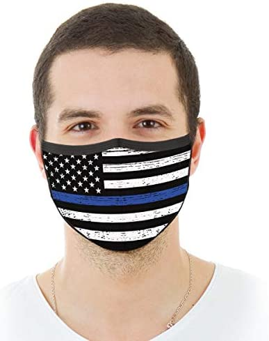 VTH GLOBAL Police Officer Thin Blue Line Lives Matter Support American Flag Law Enforcement Back Deputy Sheriff Design Print Reusable Washable Breathable Cloth Face Mask Women Men for Dust Protection