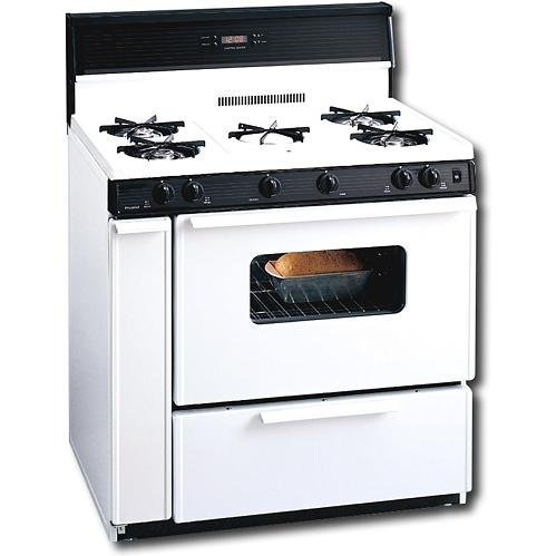 Premier SLK249WP White 36' Three-Way Top Electronic Spark Gas Range with 3.9 Cu. Ft. Capacity Five Cooktop Burners 10' Tempered Black Glass with Clock/Timer and Windowed Oven Doo