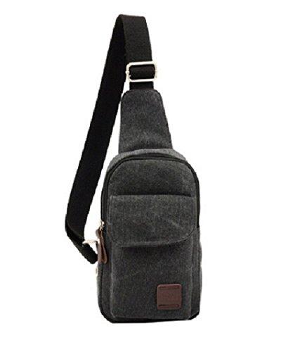 Lifelj Vintage Canvas Messenger Bag Big Capacity Multifunctional Unisex Chest Shoulder Satchel Crossbody Bag with Zipper (black)