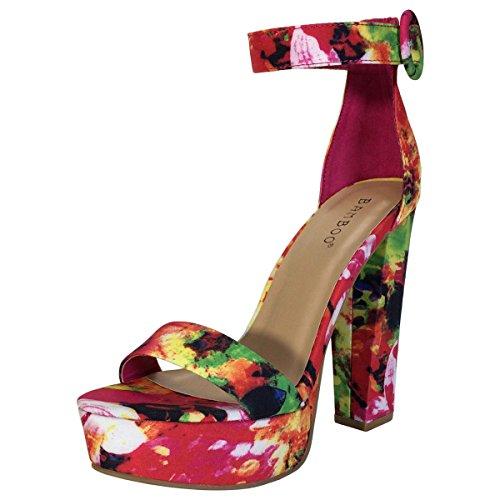 Bambus Kvinners Chunky Hæl Plattform Sandal Med Ankelstropp Rød Multi Farge Print