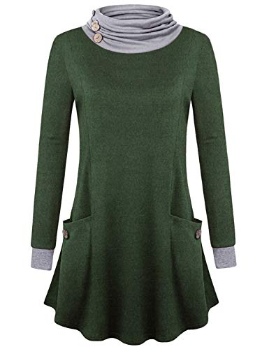 Baikea Tunic Sweatshirts for Women, Juniors Button Cowl Neck Long Sleeve Pullover Tops Double Pockets Simple Design Daily Wear Vintage Fashion Fall Clothes Army Green XL