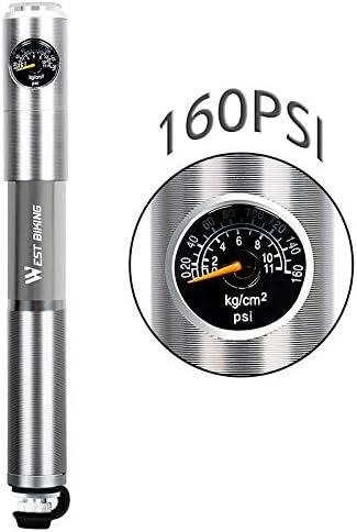 Bombas de bicicleta - Ciclismo Mini bombas de bicicleta con manómetro Bomba de alta presión de 160