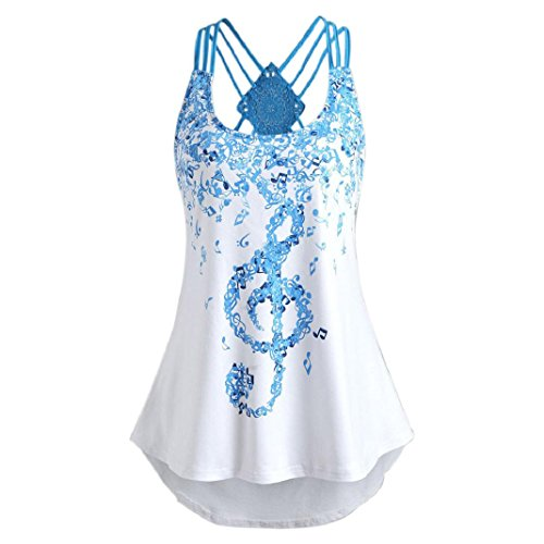 ShenPr Women Sleeveless Musical Notes Print Bandage Criss Cross Back Lace Stitching Hollow Out Tops Vest Tank (L, White) -