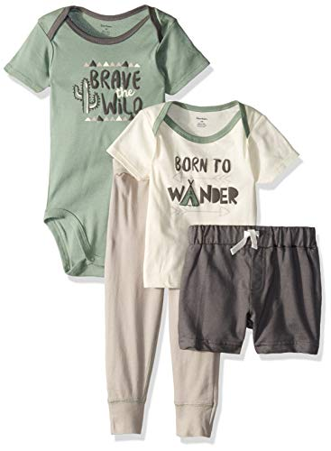 Gerber Baby Boys 4-Piece Shirt, Bodysuit, Short and Pant, Brave The Wild 12 Months