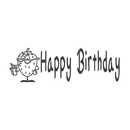 Feliz cumpleaños con imagen de fresas, sello sello de goma ...