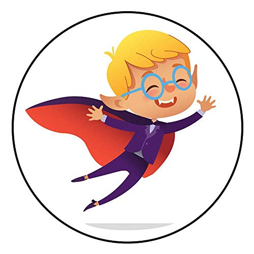 (Hua Wu Chou Round Rug mat Non slipround Gym mat D3'3/1m Kids Costume Party Dracula Vampire Boy in Halloween Devil Costume Laughing and Flying Cartoon Vector Character for Party)