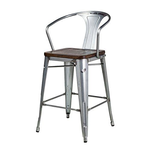 Design Tree Home Bastille Tolix Indoor Outdoor Counter Stool Walnut Seat - 27