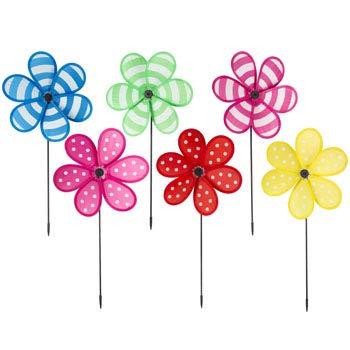 Pinwheels 21 inches 6 Assorted Flower Garden Dot Stripe Patterns Label, Case of 48