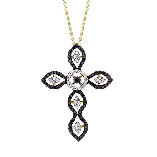 - Round Black & White Diamond Ladies Cross Pendant with 18
