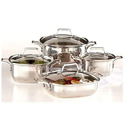 (8-piece Induction Ready Heavy Duty 18/10 Stainless Steel Unique Square Cookware Set with Vented Glass Lids )