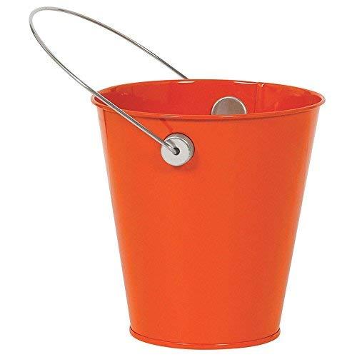 (Amscan 432589.05 Orange Peel Decorative Metal Mini Bucket with Handle Children's Temporary tattoos, 4 1/2
