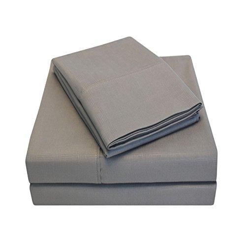 eLuxurySupply Heritage 3000 Series Embossed Basket Weave Sheet Set - King - Platinum
