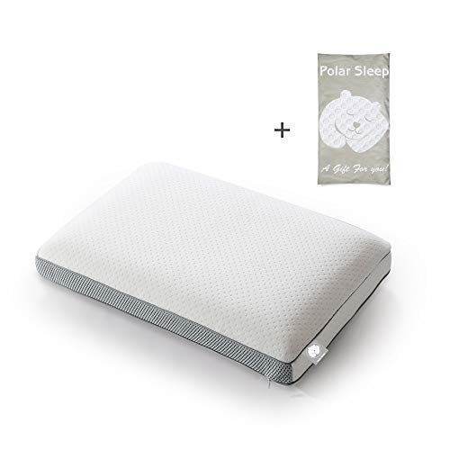 POLAR SLEEP Memory Foam Sleeping,2-in-1 Bamboo Charcoal Ventilated, for Back, Stomach, Side Sleepers,Hypoallergenic Antimicrobial Ergonomic Orthopedic Cooling Gel Pillow, White ()