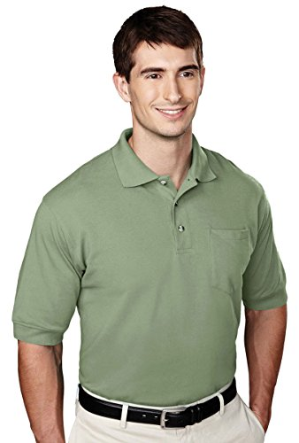 Tri-Mountain Men's Big And Tall Golf Shirt With Pocket, Sage, X-Large