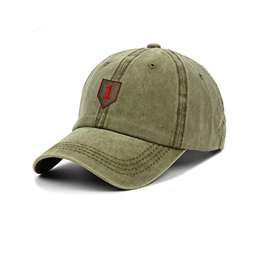 ctured US Army 1st Infantry Division Embroidery Cotton Cap Adjustable Plain Hat Dad Cap ()