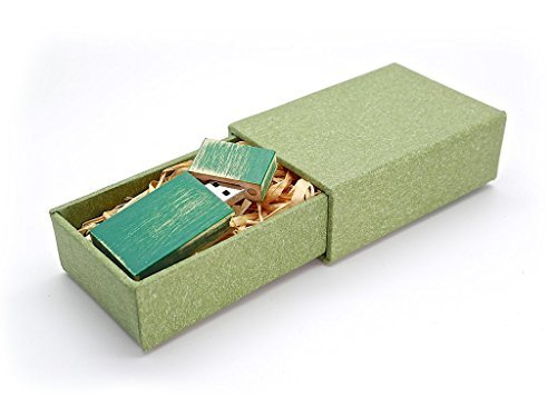 Natural Maple Stained - Maple Wood Antique Style 8GB Flash Drive - Natural Eco Vintage Collection USB 2.0 8 GB Thumb Drive - Stained in Green - Inserted into Super strong hand made paper box with Raffia grass inside