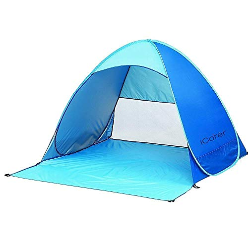 iCorer Automatic Pop Up Instant Portable Outdoors Quick Cabana Beach Tent Sun Shelter, Light Blue (Island Shade Tent)