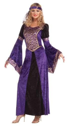 Deluxe Renaissance Queen Costumes (Forum Medieval Maiden Deluxe Costume, Purple/Black, Standard)