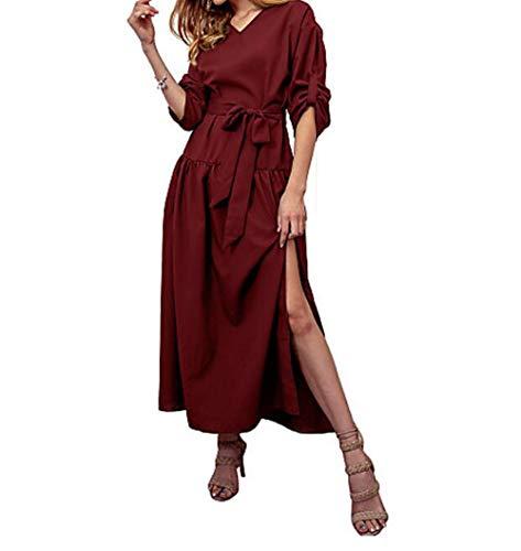 TTSKIRT Vestido Color Un Wine Básico Mujer Vaina XL Maxi 1qwFr1t