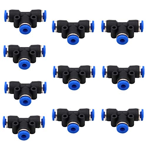 Push Fittings 4mm or 5/32 OD - DERNORD 10 Pack Plastic Push to Connect Fitting Tube Connect Tee Connect 4mm to 4mm Quick Fittings Lock