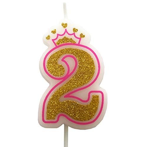PartyMart Number 2 Giltter Candle, Pink Number 2 -