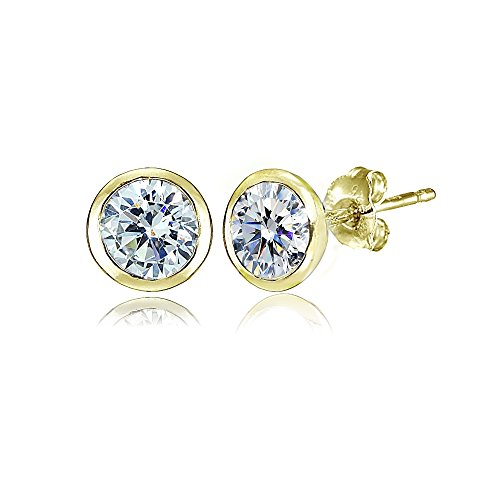 Yellow Gold Flashed Sterling Silver 5mm Bezel-set Martini Clear Stud Earrings created with Swarovski Crystals (Bezel Swarovski Earring)