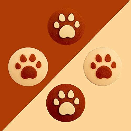 Joy-Con用 アナログスティックカバー 保護カバー (4個セット) 猫 肉球 アシストキャップ 親指グリップキャップ ジョイスティックカバー (色 : ブラウン-イエロー)